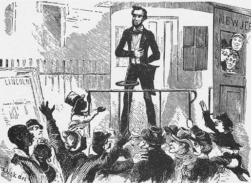 On February 18, 1861, Abraham Lincoln addressed over 8,000 Rochesterians from his train's observation platform. He was traveling thru to Washington D.C. for his inauguration. [Cartoon from 'Mr. Lincoln and New York' © 2002-2011 The Lincoln Institute.]