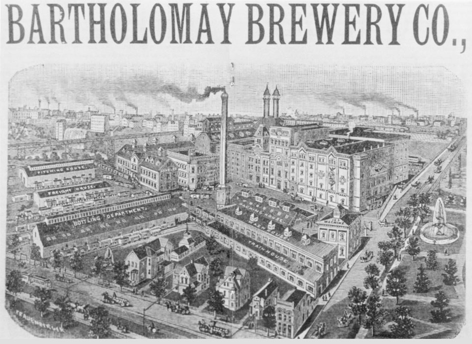 The Bartholomay Brewery Co. stood just north of Cataract Street but went out of business in 1920 with Prohibition and this complex is now gone. That's High Falls in the background. [PHOTO: Office of the City Historian.]