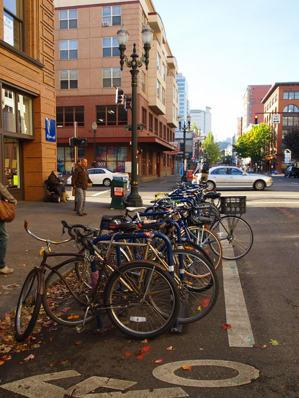 Businesses in Portland are clamoring for bike parking. [PHOTO: Lindsay Tyler]