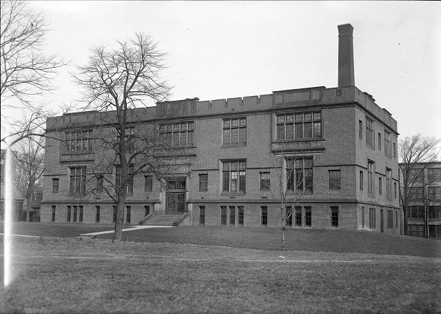 The brick Carnegie Building (on the University of Rochester's former Prince Street campus) was opened in 1911, as the first home of the Engineering School. [PHOTO: Albert R. Stone]