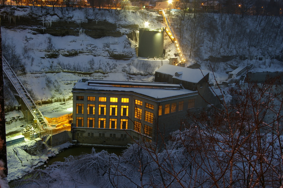 Rochester Lower Falls at Night in the Snow [PHOTO: RocPx.com]