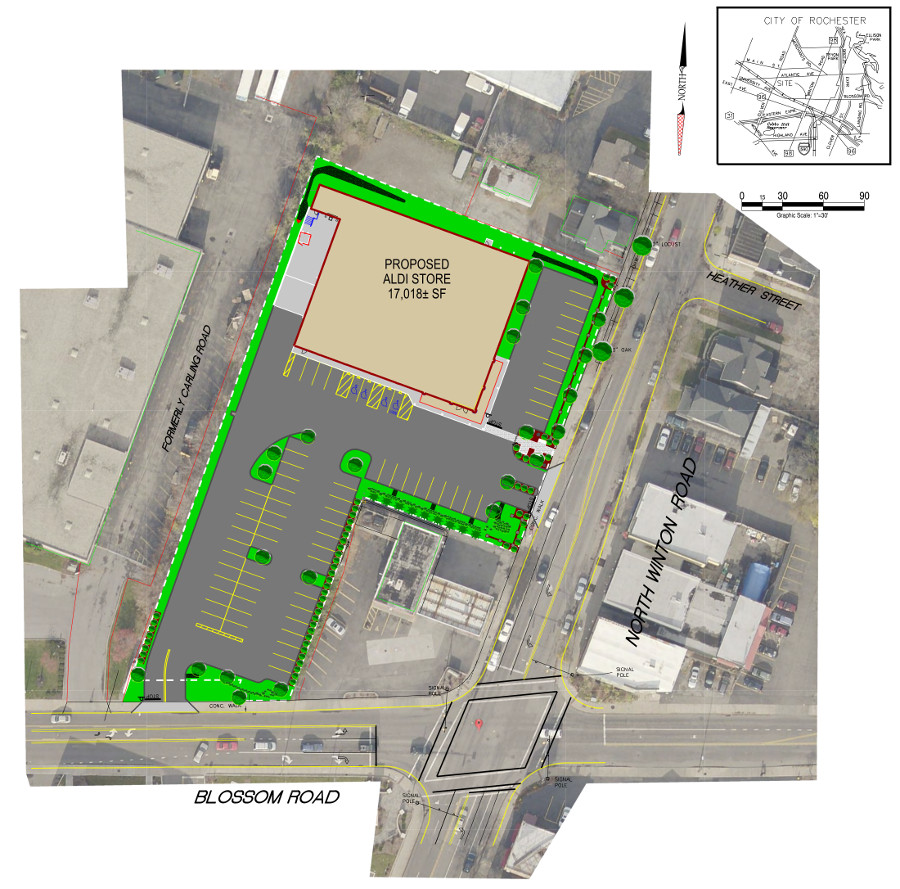 Originally Proposed Aldi Site Plan. [IMAGE: APD Engineering]