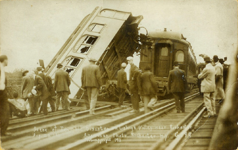 We rediscovered this story of a 100 year old train wreck about 20 miles east of Rochester. [PHOTO: A. Newman, Copyright 1911]