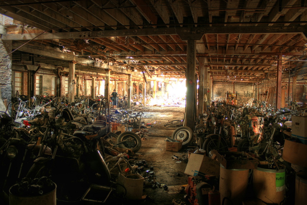 Motorcycles in an abandoned warehouse in Lockport, NY. [PHOTO: Chris Seward, Flickr]