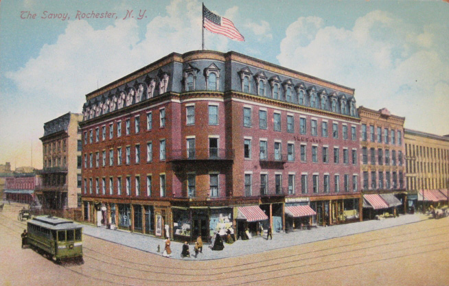 Lincoln's schedule originally called for him to address the public from the first floor corner balcony of this hotel. The Waverly Hotel, later the Savoy, stood on State Street next to the railroad tracks where the Inner Loop is now.